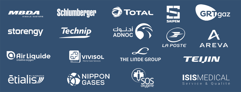logos customers Srett : MBDA, Schlumberger, Total, Saipem, GRTgaz, Storengy, technip, Adnoc, La Poste, Areva, Air liquide, Vivisol, The Linde group, Teijin, Etialis, Nippon gases, SOS oxygène, Isis Medical